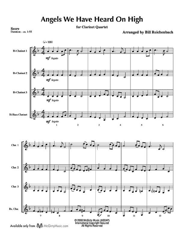 All Music Chords french horn sheet music : Bass Clarinet in Christmas music | Product categories | McGinty ...