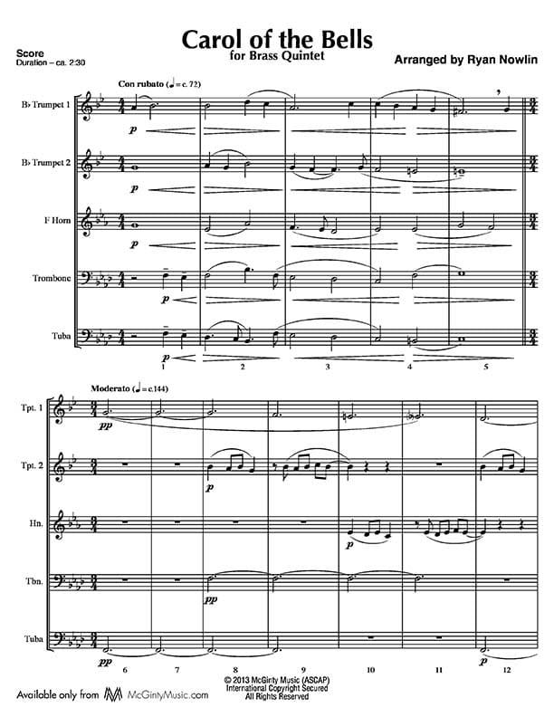 All Music Chords brass choir sheet music : Brass Quintet | Product categories | McGinty Music, LLC.