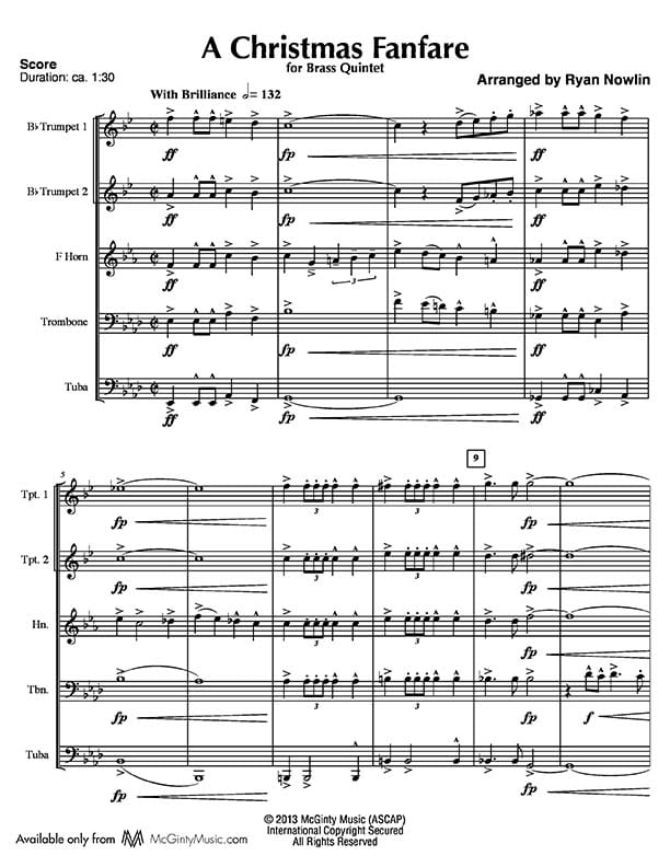 All Music Chords brass choir sheet music : Christmas Fanfare, A – Brass Quintet | McGinty Music, LLC.