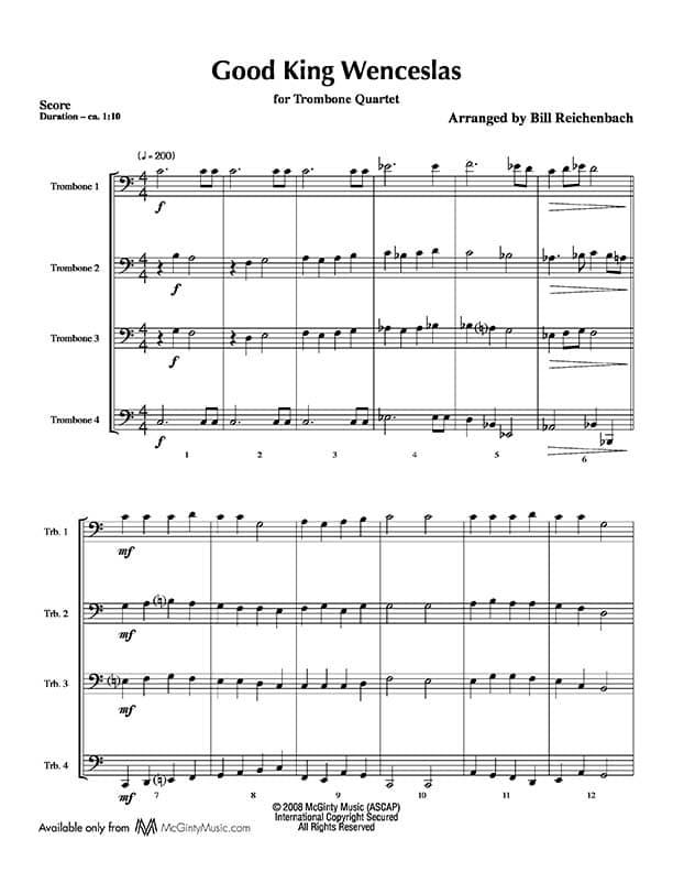 Good King Wenceslas – Trombone Quartet | McGinty Music, LLC.