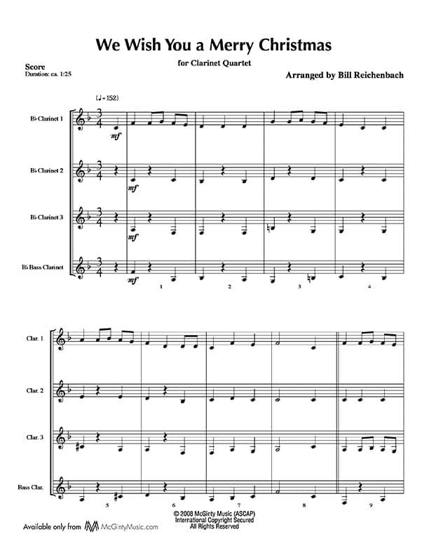 We Wish You A Merry Christmas Clarinet Quartet