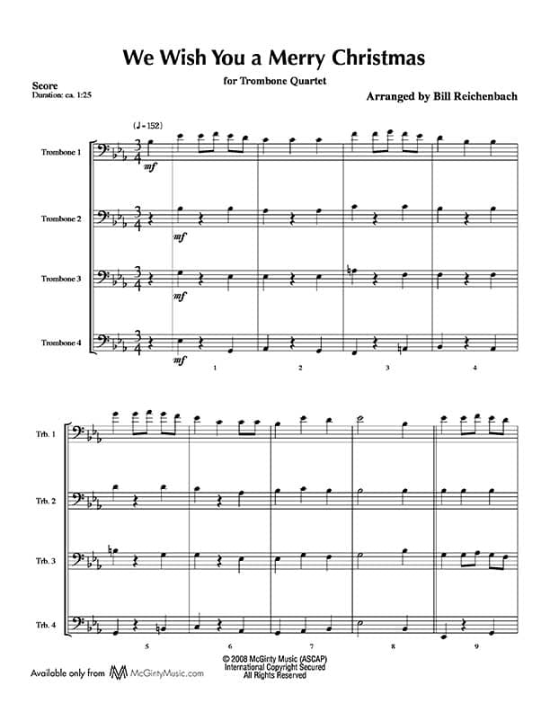 We Wish You a Merry Christmas – Trombone Quartet | McGinty Music, LLC.