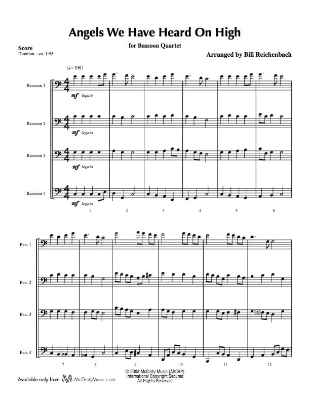 Bassoon quartet in Christmas music | Product categories | McGinty ...